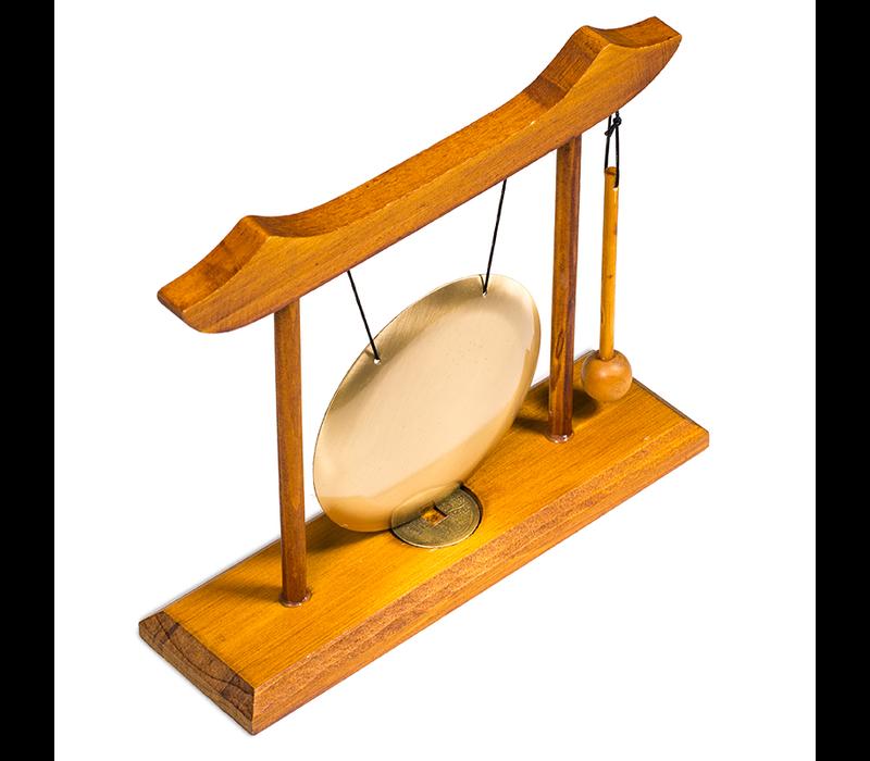Chinese Tafelgong met Geluksmunt 25x22cm