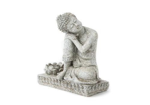 Fine Asianliving Boeddha met kaarshouder Grijs 17.5cm