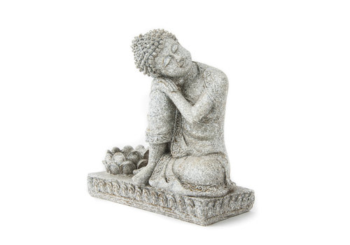 Fine Asianliving Buddha with Tea Light Holder Grey 17.5cm