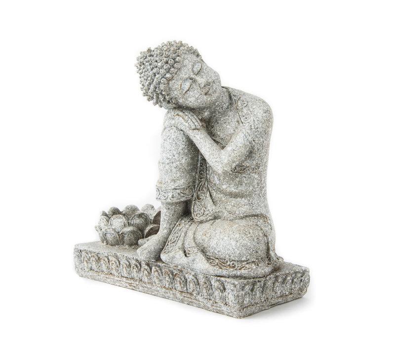 Boeddha met kaarshouder Grijs 17.5cm