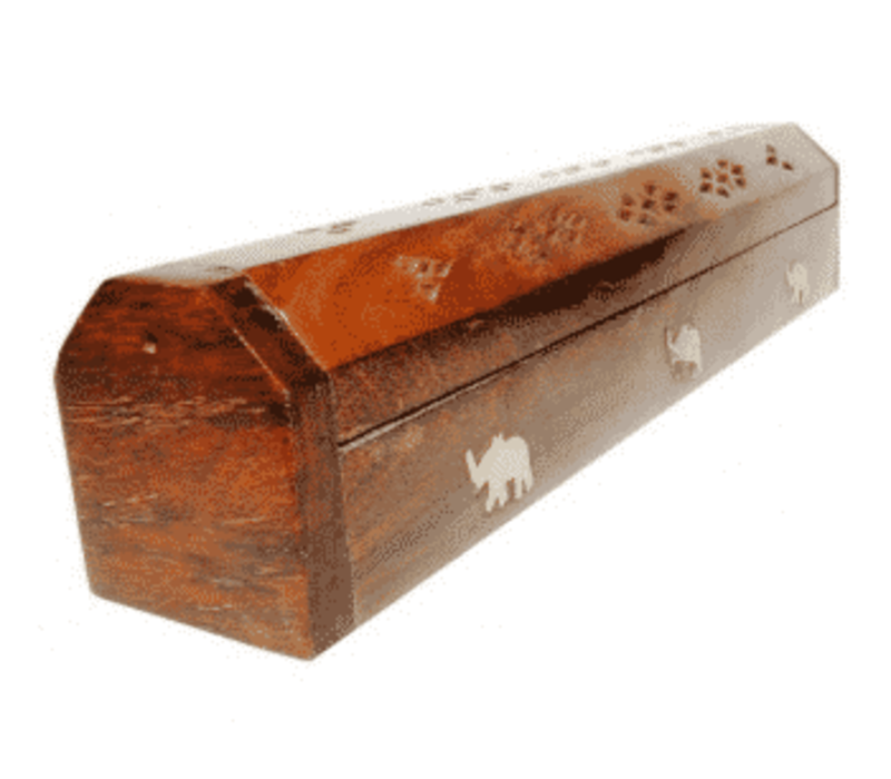 Incense Sticks Storage Box Elephants Wood