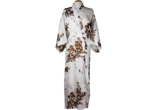 Fine Asianliving Japanse Yukata Kimono Kraanvogel Wit Goud Handgemaakt in Japan