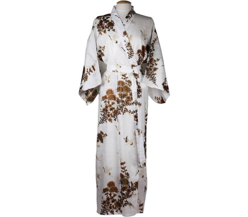 Japanese Yukata Kimono Cranes White Gold Handmade Japan