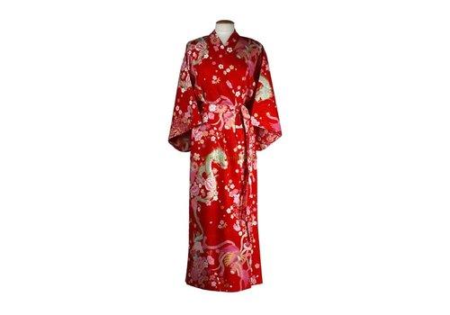 Fine Asianliving Fine Asianliving Japanse Yukata Kimono Dragon Phoenix Rood Handmade Japan