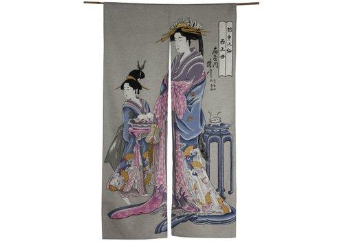 Fine Asianliving Fine Asianliving Japanse Noren Deurgordijn - Geisha Handmade Japan  85x150cm