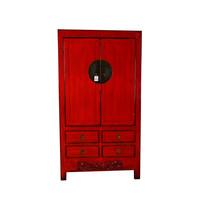Antique Chinese Wardrobe Red - Gansu China