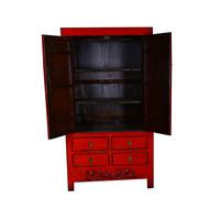 Antique Chinese Wedding Cabinet Red - Gansu China