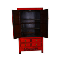 Armoire Chinoise Antique Rouge - Gansu Chine