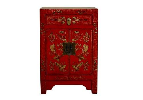 Fine Asianliving Chinees Nachtkastje Handbeschilderde Vlinders Rood