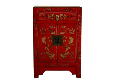 Fine Asianliving Chinese Bedside Table W40xD32xH60cm Handpainted Butterflies Red