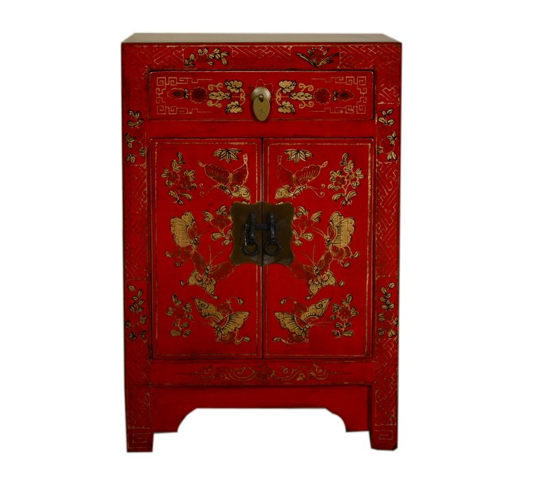 Chinese Bedside Table W40xD32xH60cm Handpainted Butterflies Red