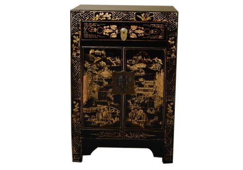 Fine Asianliving [PREORDER WEEK48] Bedside Table Hand Painted Black - Village View