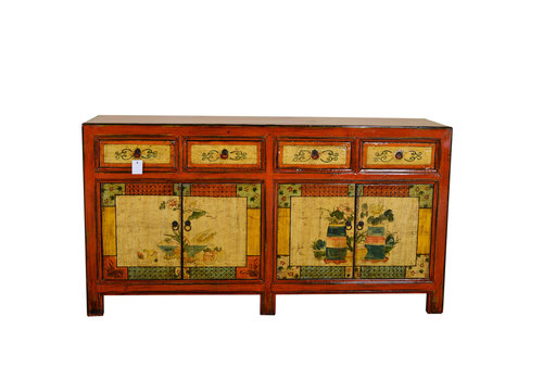 Fine Asianliving Antiek Chinees Dressoir Handgetekend Still Leven