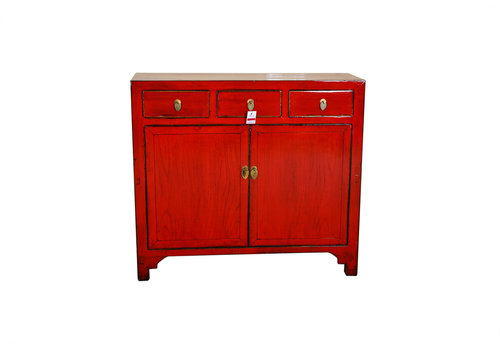 Fine Asianliving [PREORDER WEEK48] Red Antique Chinese Sideboard Hand Painted