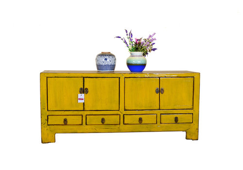 Fine Asianliving Antique Chinese Sideboard Low Hand Painted Yellow