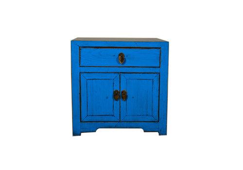 Fine Asianliving Nachttisch Nachtschrank Handbemalt Blau