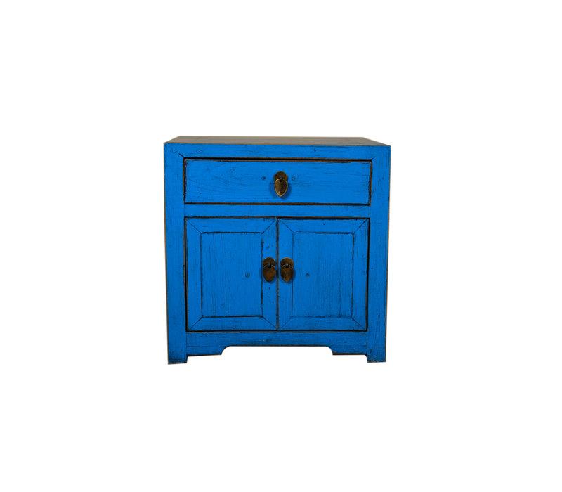 Table de chevet peinte à la main en bleu