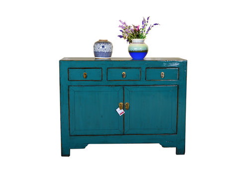 Fine Asianliving Antique Chinese Sideboard Hand Painted Teal