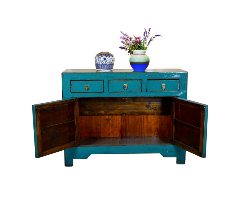 Antique Chinese Sideboard Hand Painted Teal