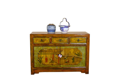 Fine Asianliving [PREORDER WEEK48] Antique Chinese Sideboard Hand Painted - Garden View