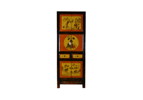Fine Asianliving [PREORDER WEEK48] Antique Chinese Small Cabinet Hand Painted Landscape
