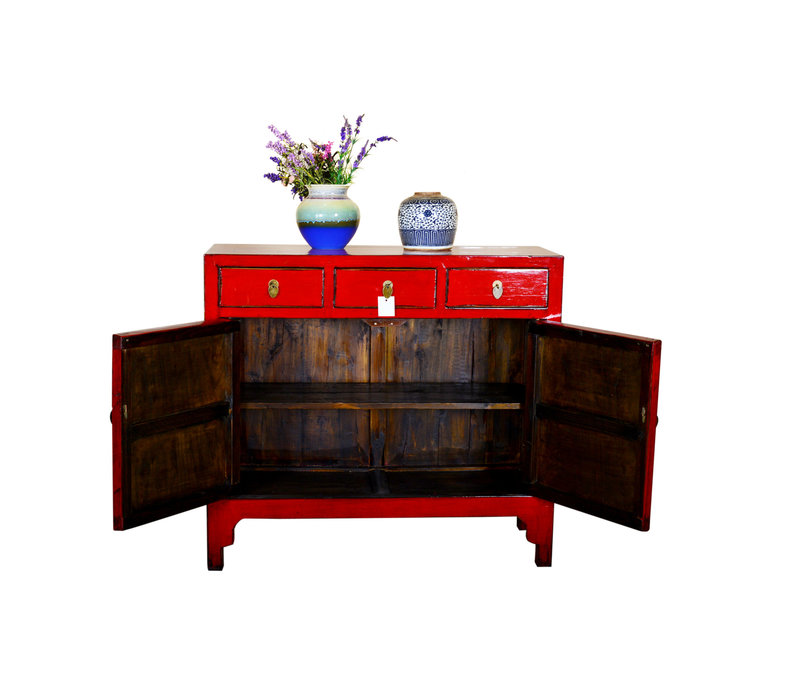 Antique Chinese Sideboard Hand Painted Red