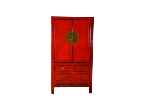 Fine Asianliving Antique Chinese Cabinet Hand Painted Red