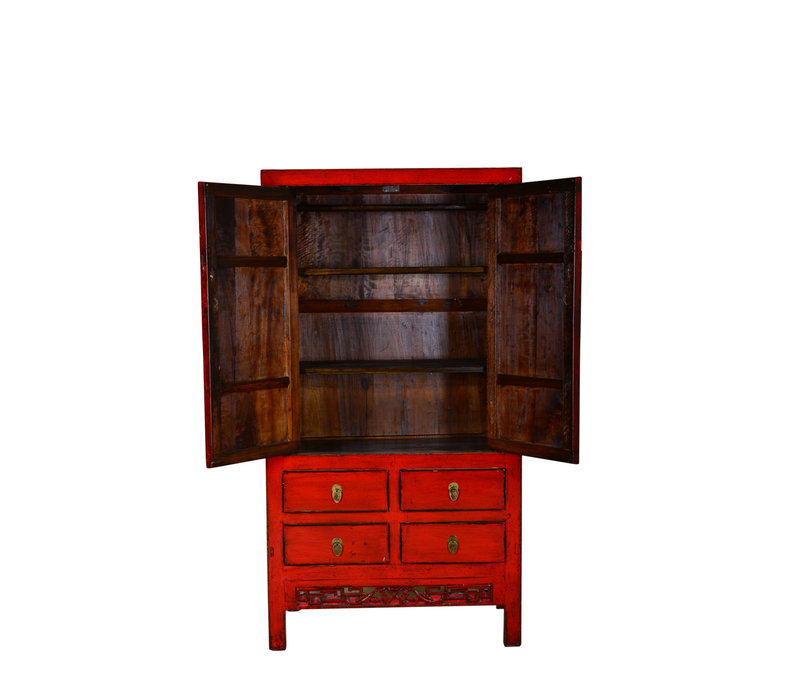 [PREORDER WEEK48] Antique Chinese Designed Cabinet Hand Pained Red