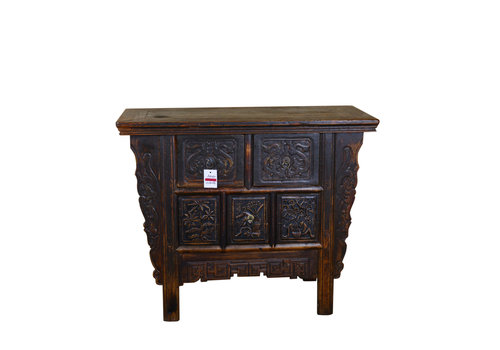 Fine Asianliving Antique Chinese Cabinet Handcrafted Brown