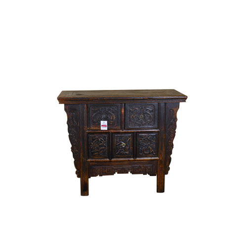 Antique Chinese Cabinet Handcrafted Brown