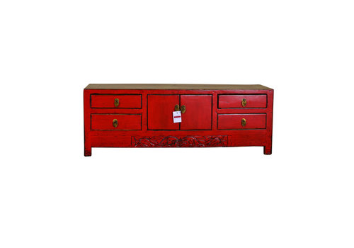 Fine Asianliving [PREORDER WEEK48] Antique Chinese Low Sideboard Handmade Red