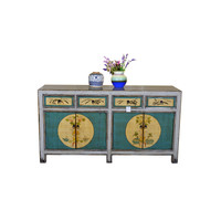 Antique Chinese Sideboard Hand Painted Teal and white