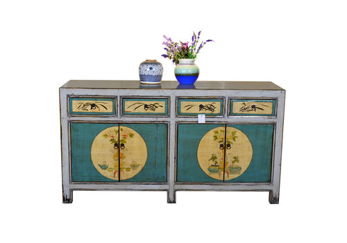 Fine Asianliving Antique Chinese Sideboard Hand Painted Teal and white