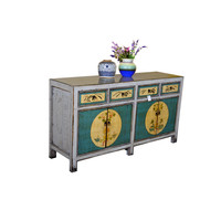 [PREORDER WEEK48] Antique Chinese Sideboard Hand Painted Teal and White