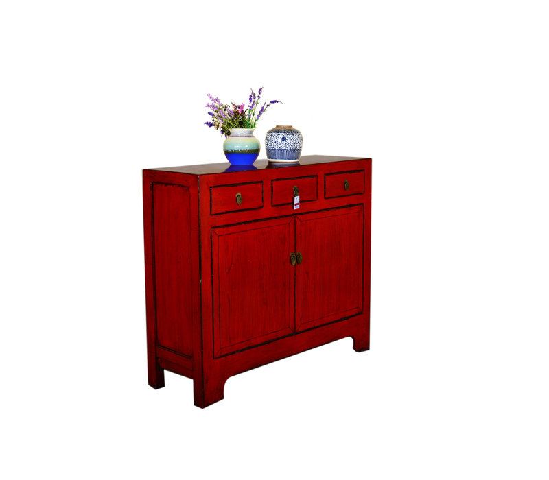 Antique Chinese Sideboard Hand Painted Red - Yunnan