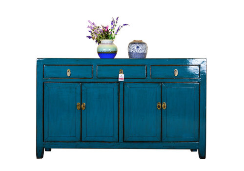 Fine Asianliving [PREORDER WEEK48] Antique Chinese Sideboard Hand Painted Blue