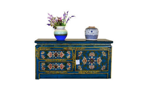 Fine Asianliving [PREORDER WEEK48] Antique Tibetan Designed Low Sideboard Hand Painted