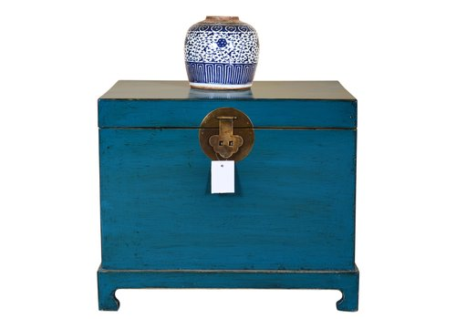Fine Asianliving Chinese Storage Trunk Hand Painted Teal