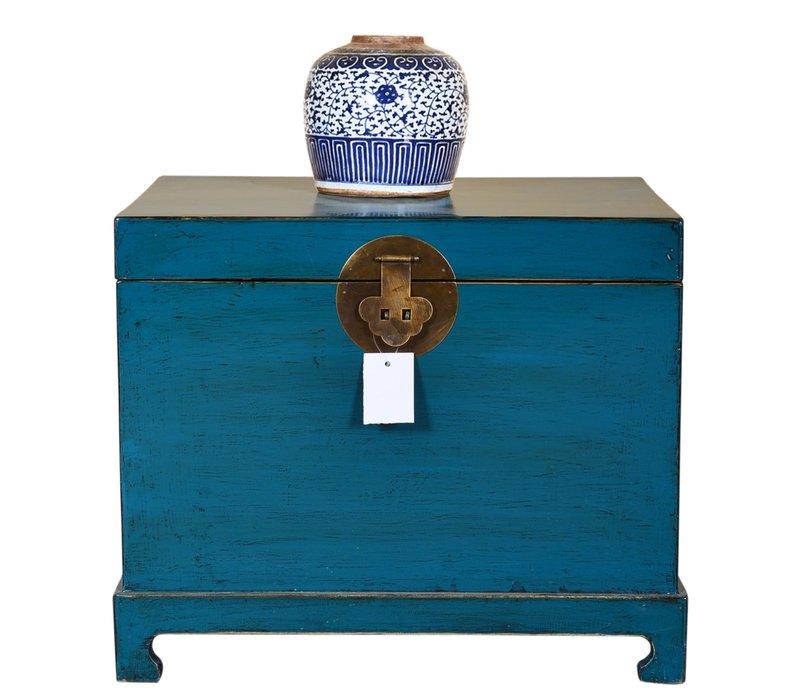 Antike Chinesische Truhe Handbemalt Blau