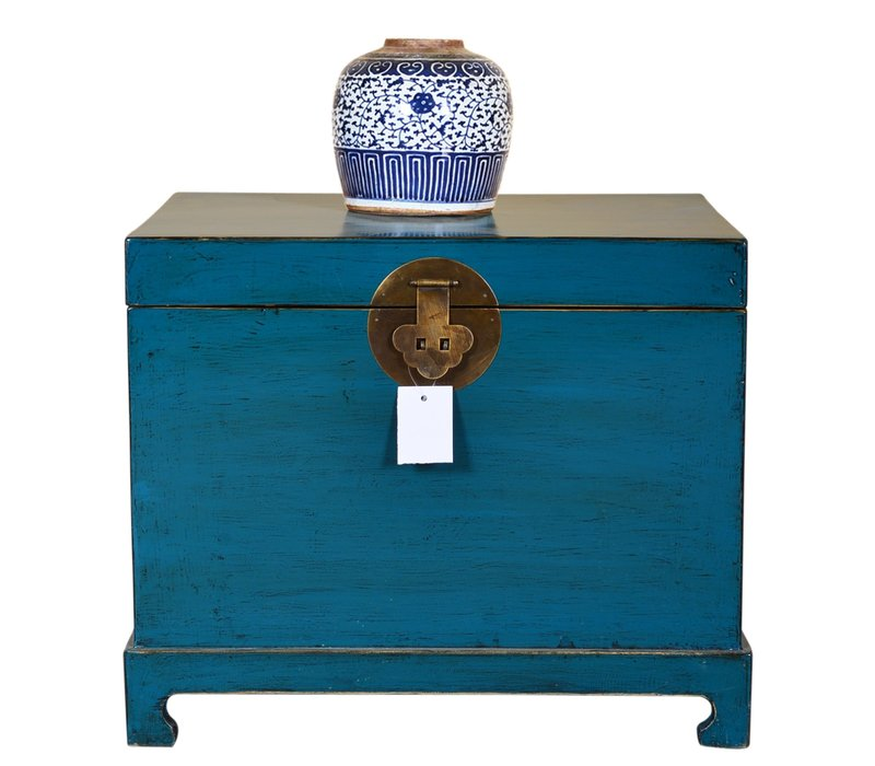 Chinese Storage Trunk Hand Painted Teal