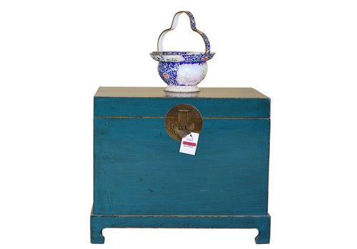 Fine Asianliving Chinese Storage Trunk Hand Painted Dark Teal