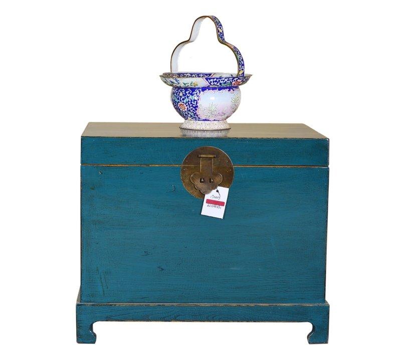 Coffre de rangement chinois peint à la main turquoise foncé