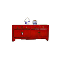 [PREORDER WEEK48] Antique Chinese Low Sideboard Hand Painted Red - Xiamen