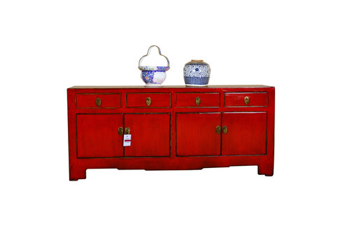 Fine Asianliving Antique Chinese Low Sideboard Hand Painted Red - Xiamen