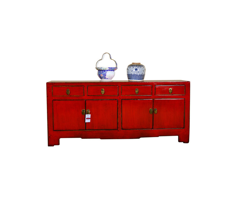 Antique Chinese Low Sideboard Hand Painted Red - Xiamen