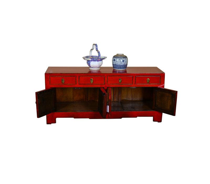 Antieke Chinese TV Kast Handgeschilderd Rood - Xiamen