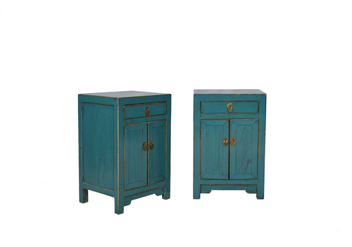 Fine Asianliving Designed Chinese Bedside Table Teal