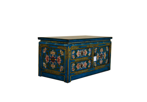 Fine Asianliving Antique Tibetan Low Sideboard Hand Painted - Blue