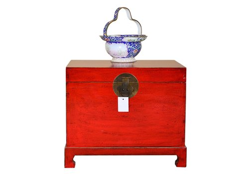 Fine Asianliving Antique Traditional Chinese Storage Trunk Hand Painted Lucky Red W62xD45xH51cm