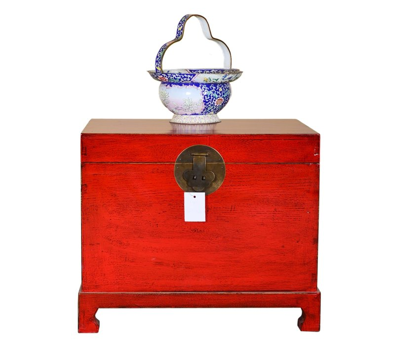 Ancien coffre de rangement chinois peint à la main rouge chanceux